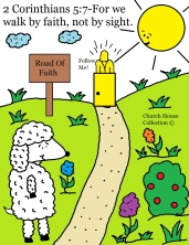 For We Walk By Faith Not By Sight Coloring Page for Kids in Sunday School or Children's Church Sheep Jesus colored page